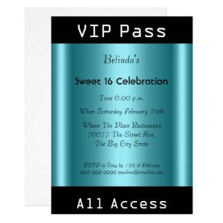 VIPのパスの菓子16の誕生会の黒のティール(緑がかった色) カード