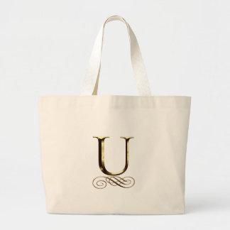 "VIPの金ゴールド"" U""のモノグラム ラージトートバッグ"