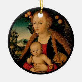 Virgin Child Under Apple Tree Cranach セラミックオーナメント