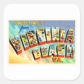 Virginia BeachヴァージニアVAのヴィンテージ旅行郵便はがき スクエアシール