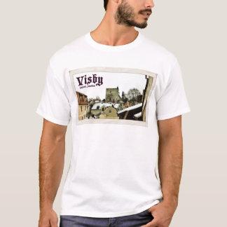 Visbyのゴトランド、スウェーデンのヴィンテージの郵便はがきのスタイル Tシャツ