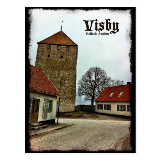 Visbyの暗いボーダーが付いているゴトランド、スウェーデンタワー ポストカード