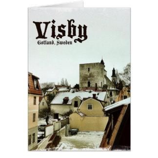 Visbyの軽いボーダーが付いているゴトランド、スウェーデンの屋上 カード