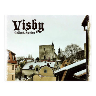Visbyの軽いボーダーが付いているゴトランド、スウェーデンの屋上 ポストカード