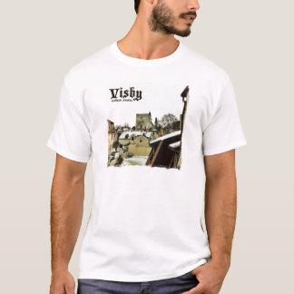 Visbyの軽いボーダーが付いているゴトランド、スウェーデンの屋上 Tシャツ