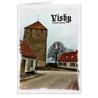 Visbyの軽いボーダーが付いているゴトランド、スウェーデンタワー グリーティングカード