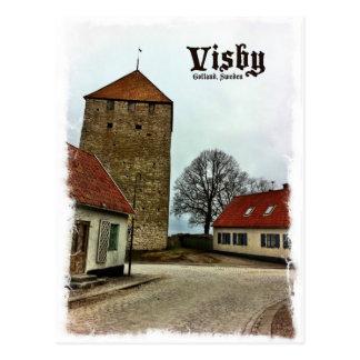Visbyの軽いボーダーが付いているゴトランド、スウェーデンタワー 葉書き
