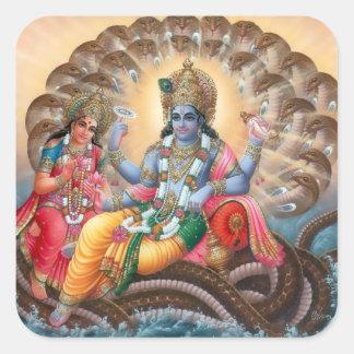 Vishnu及びLakshmiのステッカー-バージョン2 スクエアシール