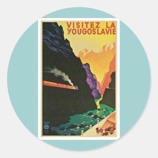 VisitezのLaのYougoslavieのヴィンテージ旅行ポスター芸術 ラウンドシール