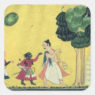 Visvamitra著伴われるRamaおよびLakshmana スクエアシール