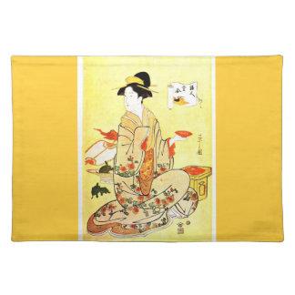 Vittageの日本のな芸術の布のランチョンマット ランチョンマット