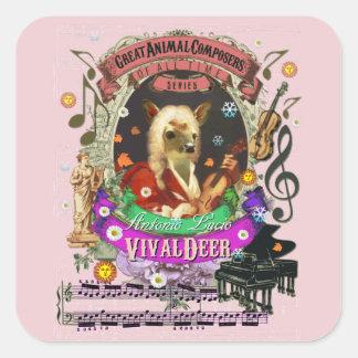 VivaldeerのVivaldiかわいいシカの子鹿の動物作曲家 スクエアシール