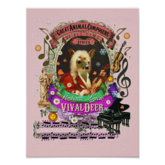Vivaldi Parody Vivaldeer Deer Animal Composer ポスター