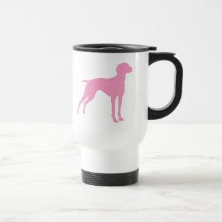 Vizsla犬のシルエット(ピンク) トラベルマグ