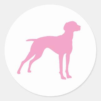 Vizsla犬のシルエット(ピンク) ラウンドシール