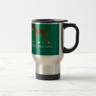 Vizsla犬のメリークリスマスのデザイン トラベルマグ