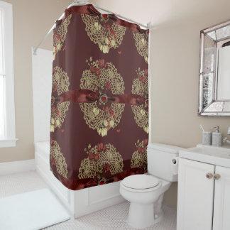 Vntageの花およびレース シャワーカーテン