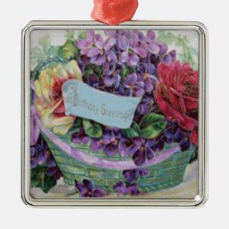 Voiletのばら色のバスケットの花柄の花 メタルオーナメント