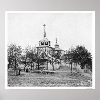 Volcananicの灰1912年によって覆われるロシアのな教会 ポスター