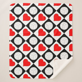 Volleyballs & Hearts Cute Checkered Pattern Warm シェルパブランケット