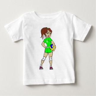 VOLLEYGIRLの緑のブルネット ベビーTシャツ