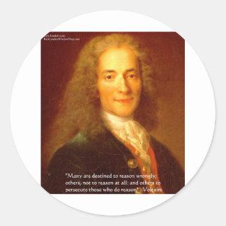 Voltaireの理由の引用文のギフトティー及びカード ラウンドシール