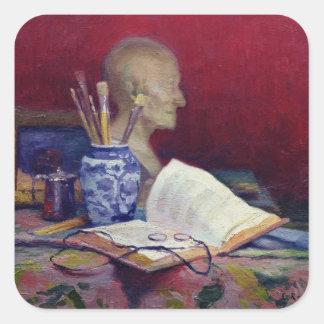 Voltaireの頭部が付いている静物画 スクエアシール