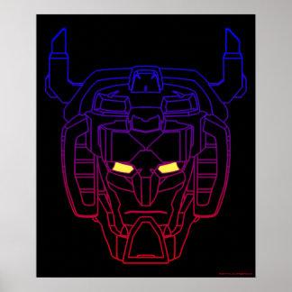 Voltron |の青赤い勾配の頭部の輪郭 ポスター