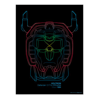 Voltron |試験色の勾配の頭部の輪郭 ポスター