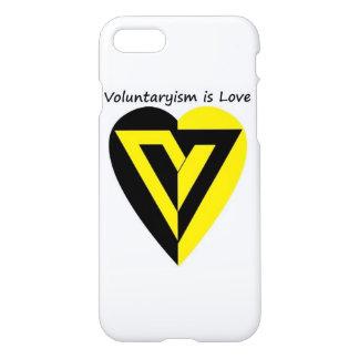 voluntaryismは愛-光沢のあるiPhone 7の場合です iPhone 8/7 ケース