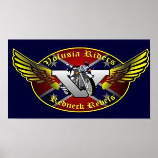 Volusiaのライダーの元のレッドネックはロゴ反逆します ポスター