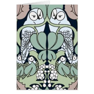 Voyseyアールヌーボーのフクロウの巣パターンメッセージカード カード