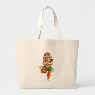 Vrksasana (木)のヨガの姿勢のGanesha ラージトートバッグ