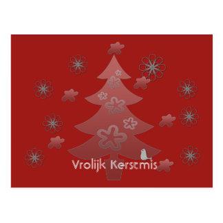 Vrolijk Kerstmis Rood Kerst Kaart ポストカード