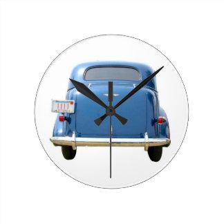 Vrooom! 1940の青のChevyの時計 ラウンド壁時計