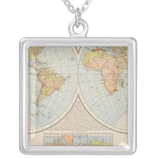 WのE Halbkugelの世界地図 シルバープレートネックレス