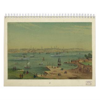 W.S. Hatton著1854年にポートランドメイン港 カレンダー