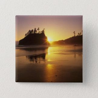 WA、オリンピックNPの日没の第2ビーチ 5.1CM 正方形バッジ