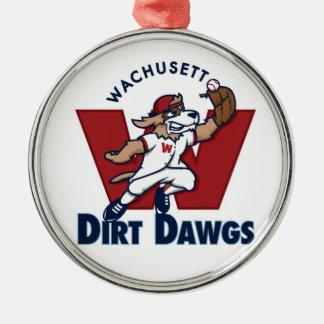 Wachusettの土のDawgsの大学の野球チームのロゴ シルバーカラー丸型オーナメント