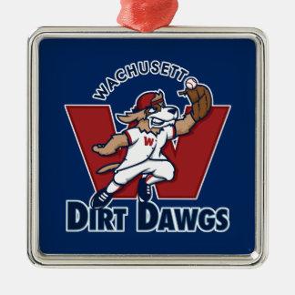 Wachusettの土のDawgsの大学の野球チームのロゴ シルバーカラー正方形オーナメント