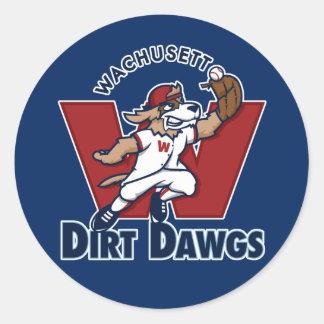 Wachusettの土のDawgsの大学の野球チームのロゴ ラウンドシール