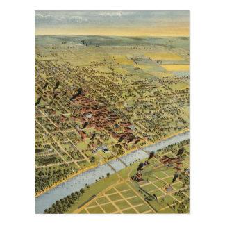 Wacoテキサス州(1892年)のヴィンテージの絵解き地図 ポストカード