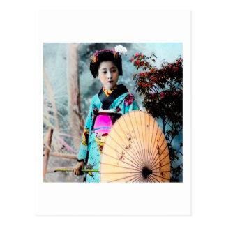 Wagasaペーパーパラソルのヴィンテージ日本の芸者 ポストカード