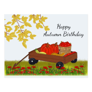 Wagon Filled with Fall Produce, Autumn Birthday ポストカード
