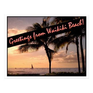 Waikikiのビーチからの挨拶! ポストカード