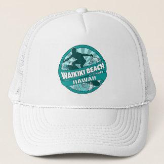 Waikikiのビーチのハワイのティール(緑がかった色)のサーファーのロゴの帽子 キャップ