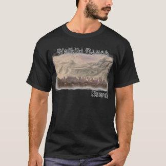 Waikikiのビーチのハワイの人のワイシャツ Tシャツ