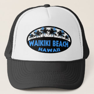 Waikikiのビーチのハワイの暗藍色のやし キャップ