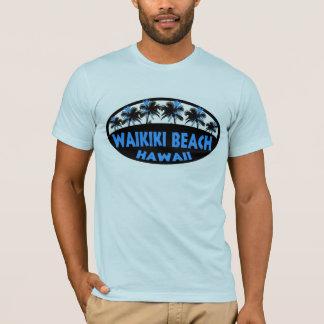 Waikikiのビーチのハワイの暗藍色のやしTシャツ Tシャツ