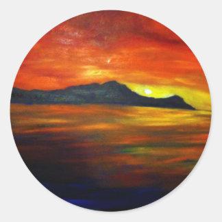 Waikikiのビーチの日没 ラウンドシール